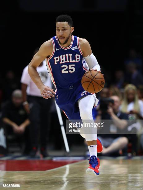 Ben Simmons of the Philadelphia 76ers dribbles against the Brooklyn Nets during their Pre Season game at Nassau Veterans Memorial Coliseum on October...