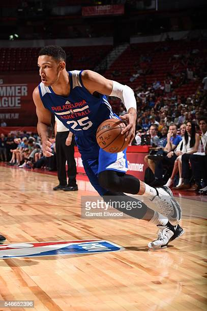Ben Simmons of the Philadelphia 76ers dribbles the ball against the Golden State Warriors during the 2016 NBA Las Vegas Summer League on July 12 2016...