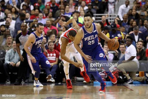 Ben Simmons of the Philadelphia 76ers dribbles the ball against the Washington Wizards at Capital One Arena on October 18 2017 in Washington DC NOTE...
