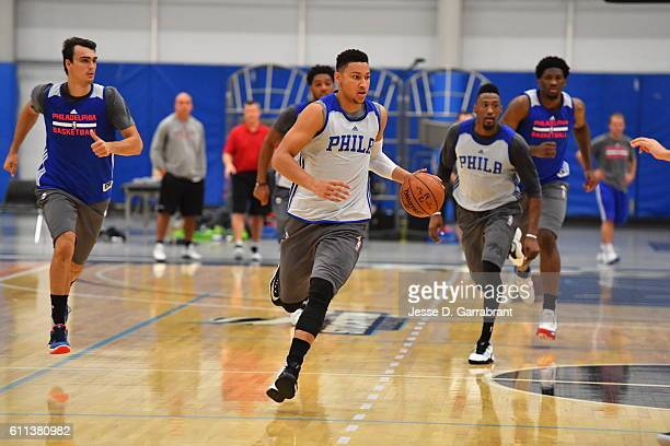 Ben Simmons of the Philadelphia 76ers dribbles the ball during practice at Stockton University on September 27 2016 in Camden New Jersey NOTE TO USER...