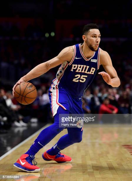 Ben Simmons of the Philadelphia 76ers drives against the LA Clippers during a 109105 win over the Clippers at Staples Center on November 13 2017 in...