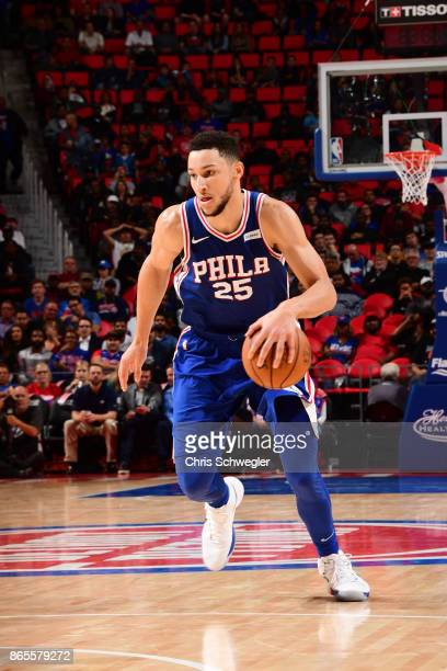 Ben Simmons of the Philadelphia 76ers drives against the Detroit Pistons on October 23 2017 at Little Caesars Arena in Detroit Michigan NOTE TO USER...