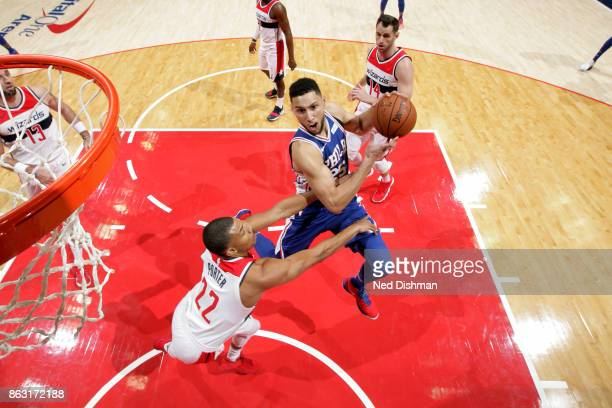 Ben Simmons of the Philadelphia 76ers drives to the basket against the Washington Wizards on October 18 2017 at Capital One Arena in Washington DC...