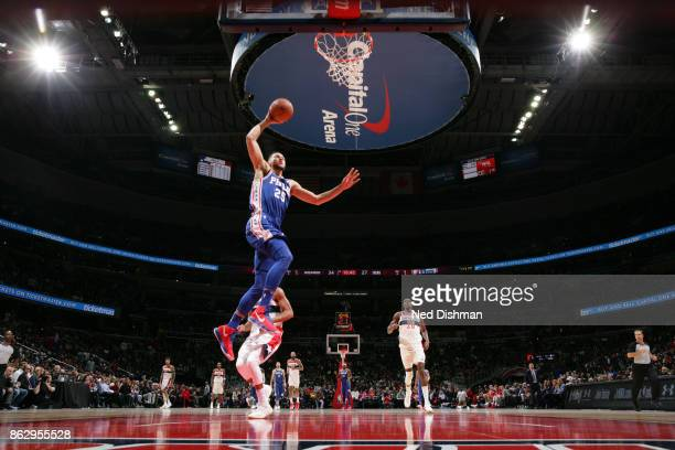 Ben Simmons of the Philadelphia 76ers drives to the basket during the 201718 regular season game against the Washington Wizards on October 18 2017 at...