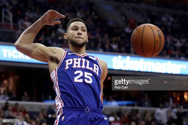 Ben Simmons of the Philadelphia 76ers dunks the ball against the Washington Wizards at Capital One Arena on October 18 2017 in Washington DC NOTE TO...