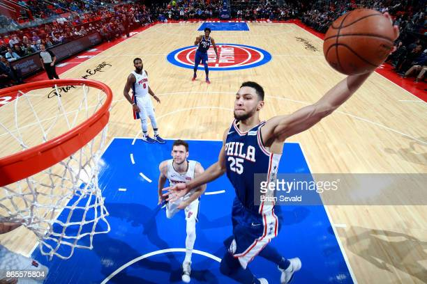 Ben Simmons of the Philadelphia 76ers dunks the ball against the Detroit Pistons on October 23 2017 at Little Caesars Arena in Detroit Michigan NOTE...