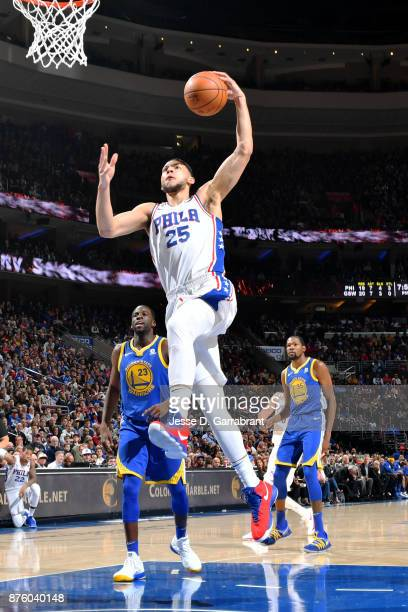 Ben Simmons of the Philadelphia 76ers dunks the ball during the game against the Golden State Warriors on November 18 2017 at Wells Fargo Center in...