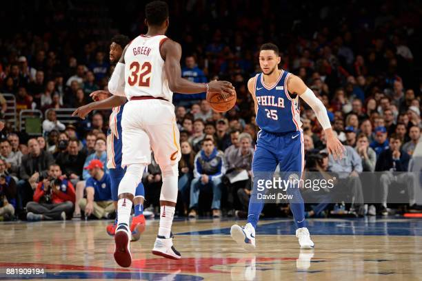 Ben Simmons of the Philadelphia 76ers guards Jeff Green of the Cleveland Cavaliers on November 27 2017 in Philadelphia Pennsylvania NOTE TO USER User...