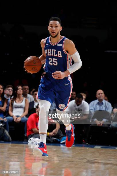 Ben Simmons of the Philadelphia 76ers handles the ball against the Brooklyn Nets on October 11 2017 at Nassau Veterans Memorial Coliseum in Uniondale...