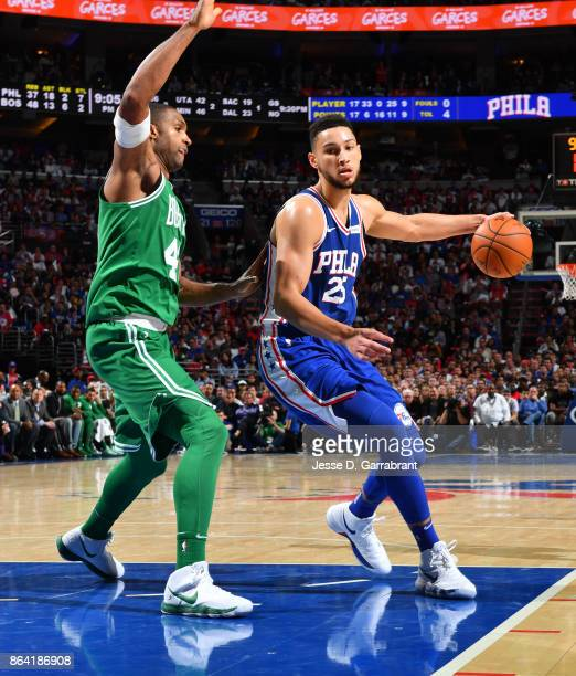 Ben Simmons of the Philadelphia 76ers handles the ball against the Boston Celtics during the game on October 20 2017 at Wells Fargo Center in...