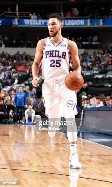 Ben Simmons of the Philadelphia 76ers handles the ball against the Dallas Mavericks on October 28 2017 at the American Airlines Center in Dallas...