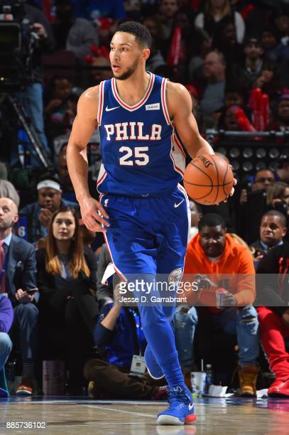 Ben Simmons of the Philadelphia 76ers handles the ball against the Phoenix Suns on December 4 2017 at Wells Fargo Center in Philadelphia Pennsylvania...