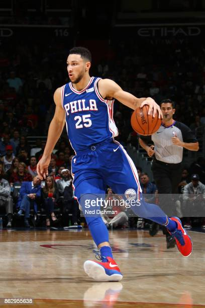 Ben Simmons of the Philadelphia 76ers handles the ball during the 201718 regular season game against the Washington Wizards on October 18 2017 at...