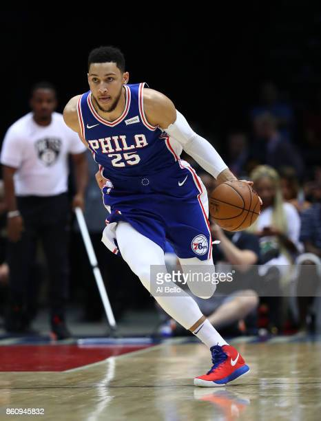 Ben Simmons of the Philadelphia 76ers in action against the Brooklyn Nets during their Pre Season game at Nassau Veterans Memorial Coliseum on...