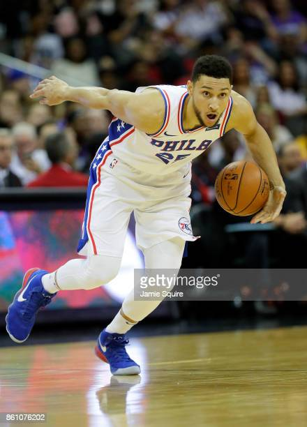 Ben Simmons of the Philadelphia 76ers in action during the game against the Miami Heat at Sprint Center on October 13 2017 in Kansas City Missouri