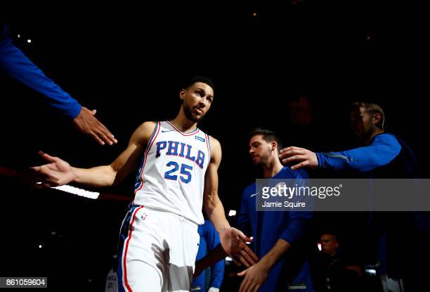 Ben Simmons of the Philadelphia 76ers is introduced prior to the game against the Miami Heat at Sprint Center on October 13 2017 in Kansas City...