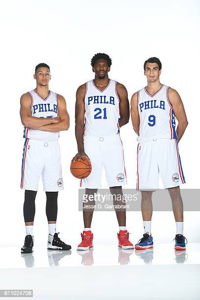 Ben Simmons of the Philadelphia 76ers Joel Embiid of the Philadelphia 76ers and Dario Saric of the Philadelphia 76ers pose for a portrait at the...