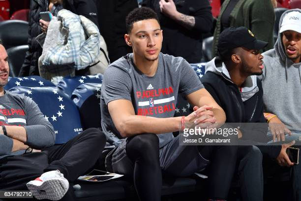 Ben Simmons of the Philadelphia 76ers looks on before the game against the Miami Heat on February 11 2017 at Wells Fargo Center in Philadelphia...