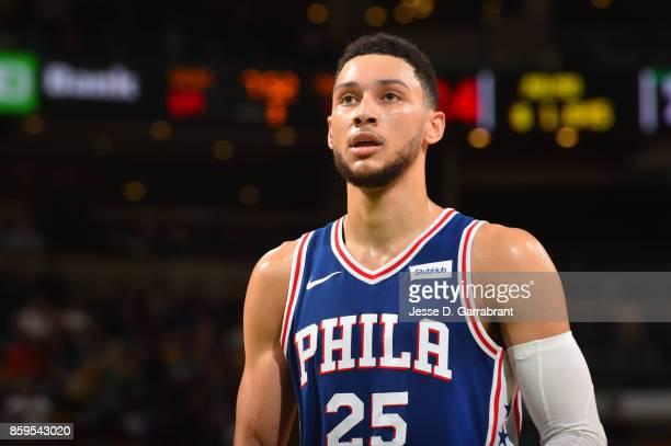 Ben Simmons of the Philadelphia 76ers looks on during a preseason game against the Boston Celtics on October 9 2017 at TD Garden in Boston...