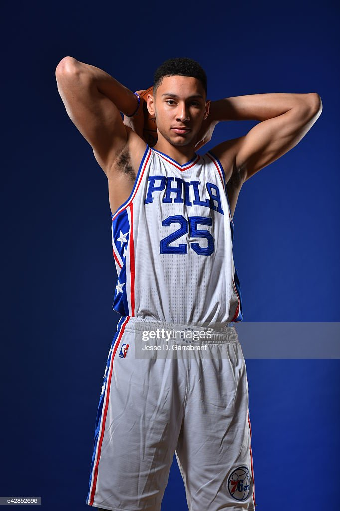 <a gi-track='captionPersonalityLinkClicked' href=/galleries/search?phrase=Ben+Simmons+-+Basketball+Player&family=editorial&specificpeople=13900541 ng-click='$event.stopPropagation()'>Ben Simmons</a> #25 of the Philadelphia 76ers poses for a portrait at the Philadelphia College of Osteopathic Medicine on June 24, 2015 in Philadelphia, Pennsylvania
