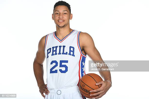 Ben Simmons of the Philadelphia 76ers poses for a portrait at the Philadelphia 76ers Training Complex during NBA media day on September 26 2016 in...