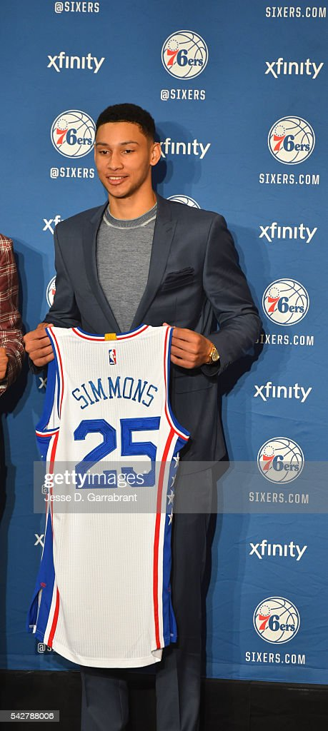 <a gi-track='captionPersonalityLinkClicked' href=/galleries/search?phrase=Ben+Simmons+-+Basketball+Player&family=editorial&specificpeople=13900541 ng-click='$event.stopPropagation()'>Ben Simmons</a> #25 of the Philadelphia 76ers poses for pictures at the Philadelphia College of Osteopathic Medicine on June 7, 2015 in Philadelphia, Pennsylvania