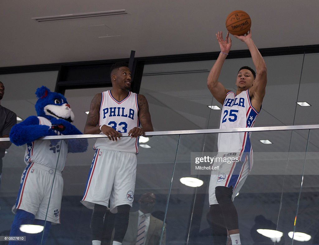 simmons 76ers jersey. ben simmons #25 of the philadelphia 76ers takes a shot from balcony while franklin jersey