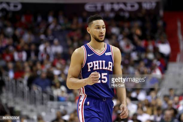 Ben Simmons of the Philadelphia 76ers walks off the floor during a timeout against the Washington Wizards at Capital One Arena on October 18 2017 in...
