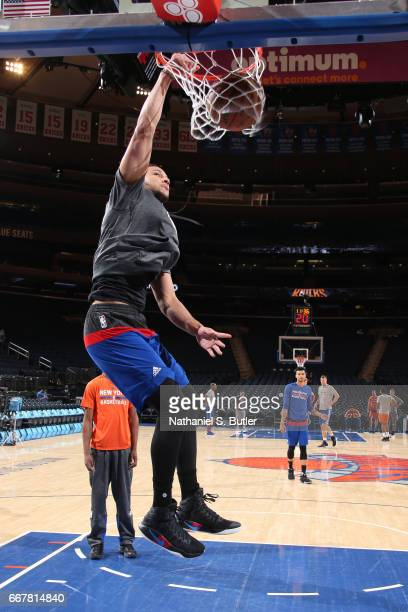 Ben Simmons of the Philadelphia 76ers warms up before the game against the New York Knicks on April 12 2017 at Madison Square Garden in New York City...