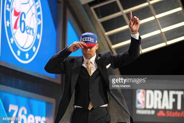 Ben Simmons points after being selected number one overall by the Philadelphia 76ers during the 2016 NBA Draft on June 23 2016 at Barclays Center in...