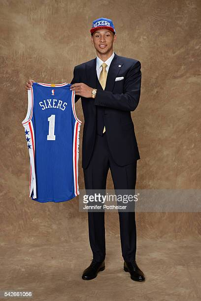 Ben Simmons poses for a portrait after being drafted number one overall by the Philadelphia 76ers during the 2016 NBA Draft on June 23 2016 at...