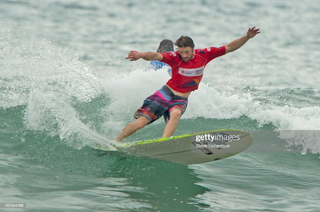 Ben Skinner from Cornwell England placed 2nd in his round 3 heat and was eliminated r the 2012 ASP World Longboard title in China on November 28, 2012 in Hainan Island, China.