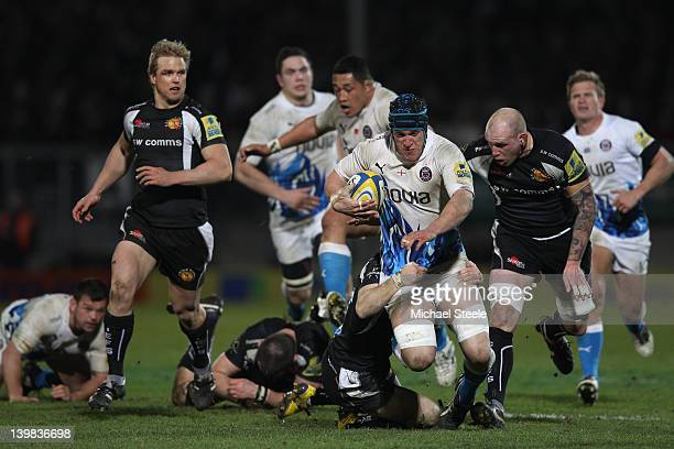 Ben Skirving of Bath runs at the Exeter defence during the Aviva Premiership match between Exeter Chiefs and Bath at Sandy Park on February 25 2012...
