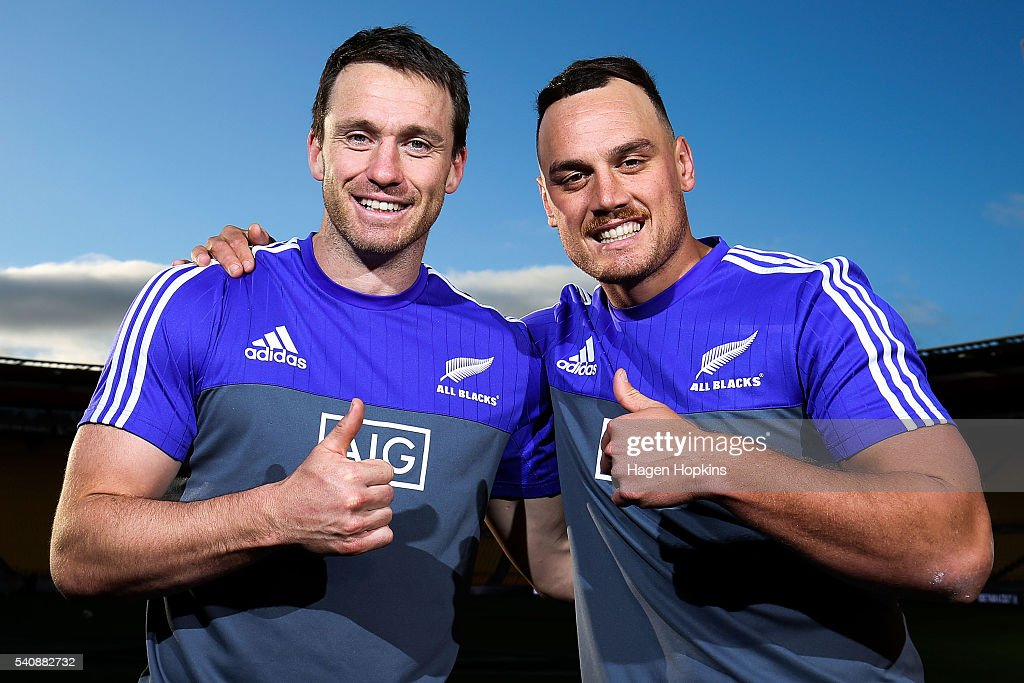 Ben Smith and Israel Dagg pose ahead of their 50th test match during a New Zealand All Blacks Captain's Run at Westpac Stadium on June 17 2016 in...