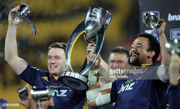 Ben Smith and Nasi Manu of the Highlanders celebrate winning the Super Rugby Title between the Hurricanes and the Highlanders at Westpac Stadium on...