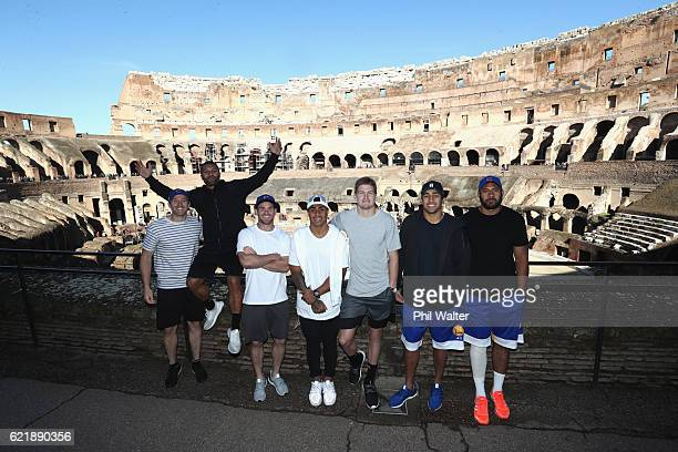 Ben Smith Lima Sopoaga Ryan Crotty Jordie Barrett Rieko Ioane and Patrick Tuipulotu of the New Zealand All Blacks pose for a photo inside the...