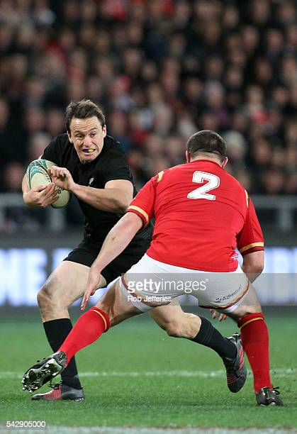 Ben Smith of New Zealand on the attack during the International Test match between the New Zealand All Blacks and Wales at Forsyth Barr Stadium on...