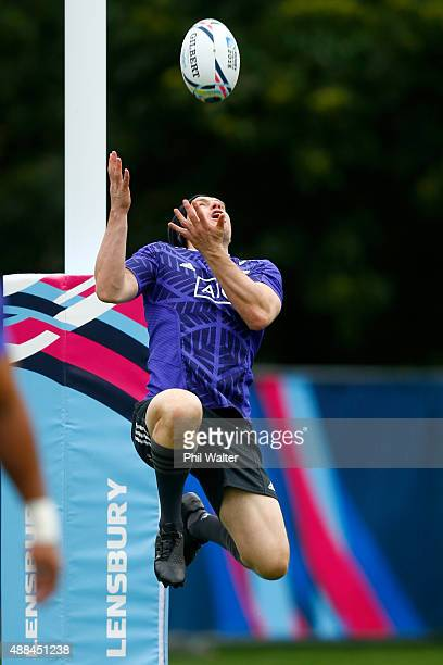 Ben Smith of the All Blacks collects the high ball during a New Zealand All Blacks training session on September 16 2015 in London United Kingdom