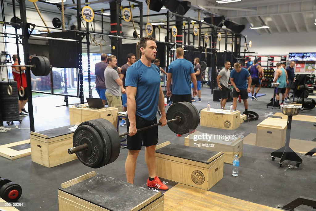 <a gi-track='captionPersonalityLinkClicked' href=/galleries/search?phrase=Ben+Smith+-+Rugby+Union+Player&family=editorial&specificpeople=11650283 ng-click='$event.stopPropagation()'>Ben Smith</a> of the All Blacks during a gym session at Les Mills on May 30, 2016 in Auckland, New Zealand.