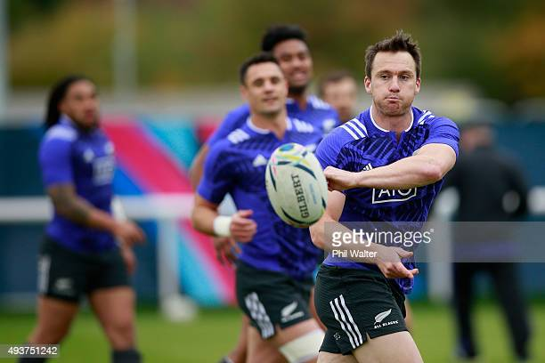 Ben Smith of the All Blacks passes during a New Zealand All Blacks training session at London Irish on October 22 2015 in London United Kingdom