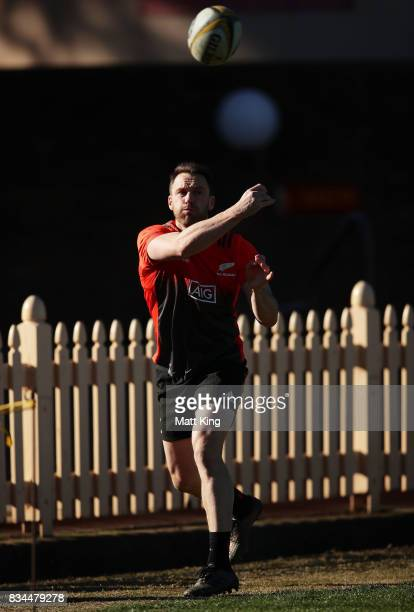Ben Smith of the All Blacks passes during the New Zealand All Blacks captain's run at North Sydney Oval on August 18 2017 in Sydney Australia