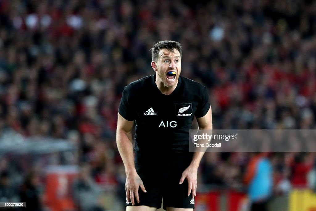 Ben Smith of the All Blacks shouts during the Test match between the New Zealand All Blacks and the British & Irish Lions at Eden Park on June 24, 2017 in Auckland, New Zealand.