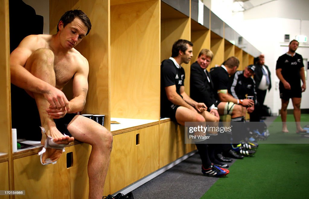 Ben Smith of the All Blacks sits in the dressing room following the first test match between the New Zealand All Blacks and France at Eden Park on June 8, 2013 in Auckland, New Zealand.