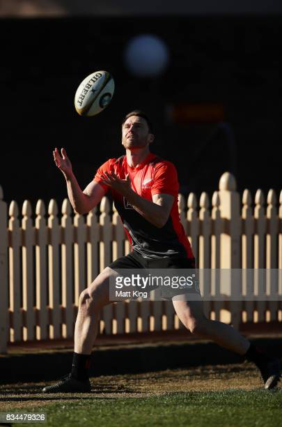 Ben Smith of the All Blacks takes a high ball during the New Zealand All Blacks captain's run at North Sydney Oval on August 18 2017 in Sydney...