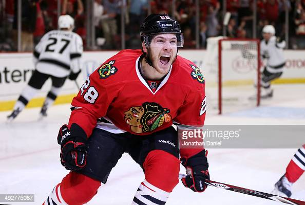 Ben Smith of the Chicago Blackhawks celebrates his goal against the Los Angeles Kings in the second period in Game Two of the Western Conference...