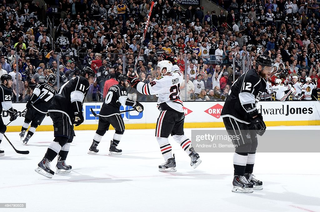 Ben Smith #28 of the Chicago Blackhawks reacts after defeating the Los Angeles Kings in Game Six of the Western Conference Final during the 2014 Stanley Cup Playoffs at Staples Center on May 30, 2014 in Los Angeles, California.