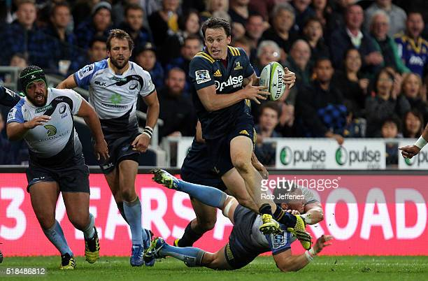 Ben Smith of the Highlanders on the attack during the round six Super Rugby match between the Highlanders and the Western Force at Forsyth Barr...