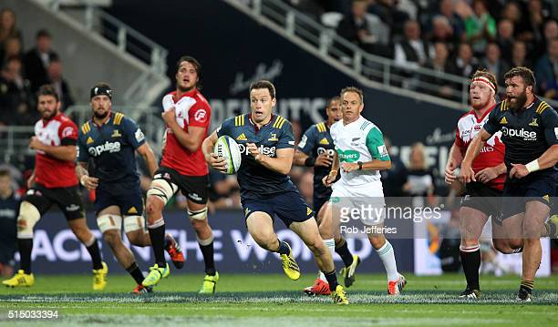 Ben Smith of the Highlanders on the attack during the round three Super Rugby match between the Highlanders and the Lions at Rugby Park on March 12...