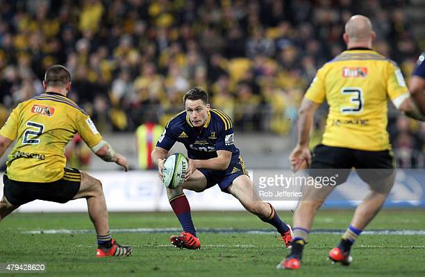 Ben Smith of the Highlanders on the attack during the Super Rugby Final match between the Hurricanes and the Highlanders at Westpac Stadium on July 4...