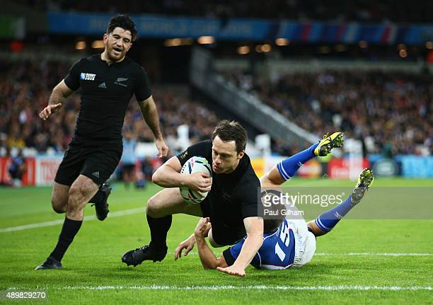 Ben Smith of the New Zealand All Blacks scores his teams seventh try during the 2015 Rugby World Cup Pool C match between New Zealand and Namibia at...